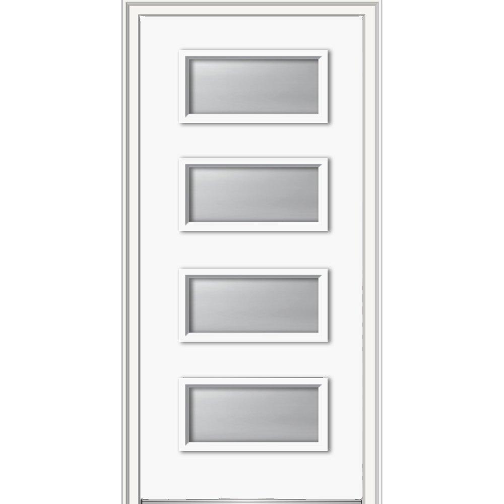 National Door Z0350997L Left Hand In-swing Exterior Prehung Door, Clear Low-E 4-Lite, Steel, 32'' x 80'', Brilliant White