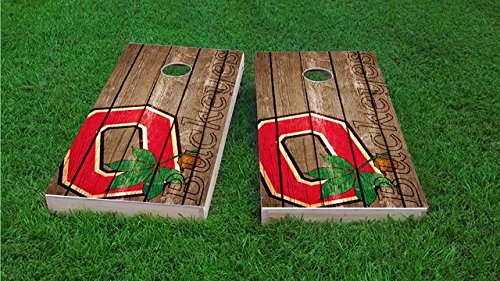 Tailgate Pro's Ohio State Buckeyes Distressed Cornhole Boards, ACA Corn Hole Set, Comes with 2 Boards, 8 All Weather Bags & 2 Board Hole Lights