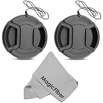 (2-Pack) 52mm Snap-On Center Pinch Lens Cap with Holder Leash, Camera Lens Protection Cover for 52mm Threaded Lenses
