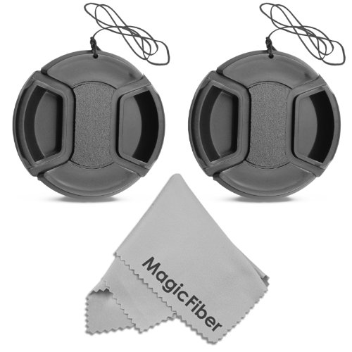 (2-Pack) 58mm Snap-On Center Pinch Lens Cap with Holder Leash, Camera Lens Protection Cover for 58mm Threaded Lenses