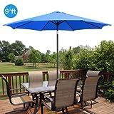 GotHobby 9ft Outdoor Patio Umbrella Aluminum w/ Tilt Crank – Blue