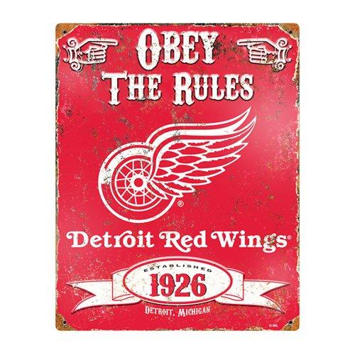 Party Animal NHL Embossed Metal Vintage Detroit Red Wings Sign (Hockey Fan Signs)