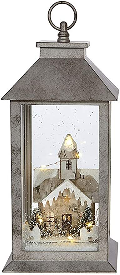 RAZ Imports Lighted Lantern w//Country Church in Winter /— 5.5 x 5.5 x 12.2