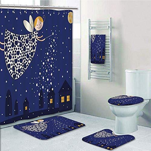 Bathroom 5 Piece Set shower curtain 3d print Customized,Night,Girls Kids Cartoon Cute Fairy in Sky Casting Magic Over Houses Hearts Stars,Blue Marigold White,Bath Mat,Bathroom Carpet Rug,Non-Slip,Bath