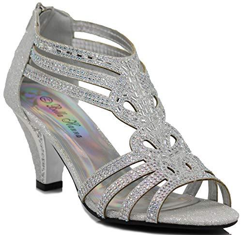 Enzo Romeo Kinmi25N Womens Open Toe Mid Heel Wedding Rhinestone Gladiator Sandal Shoes (11, Silver) ()