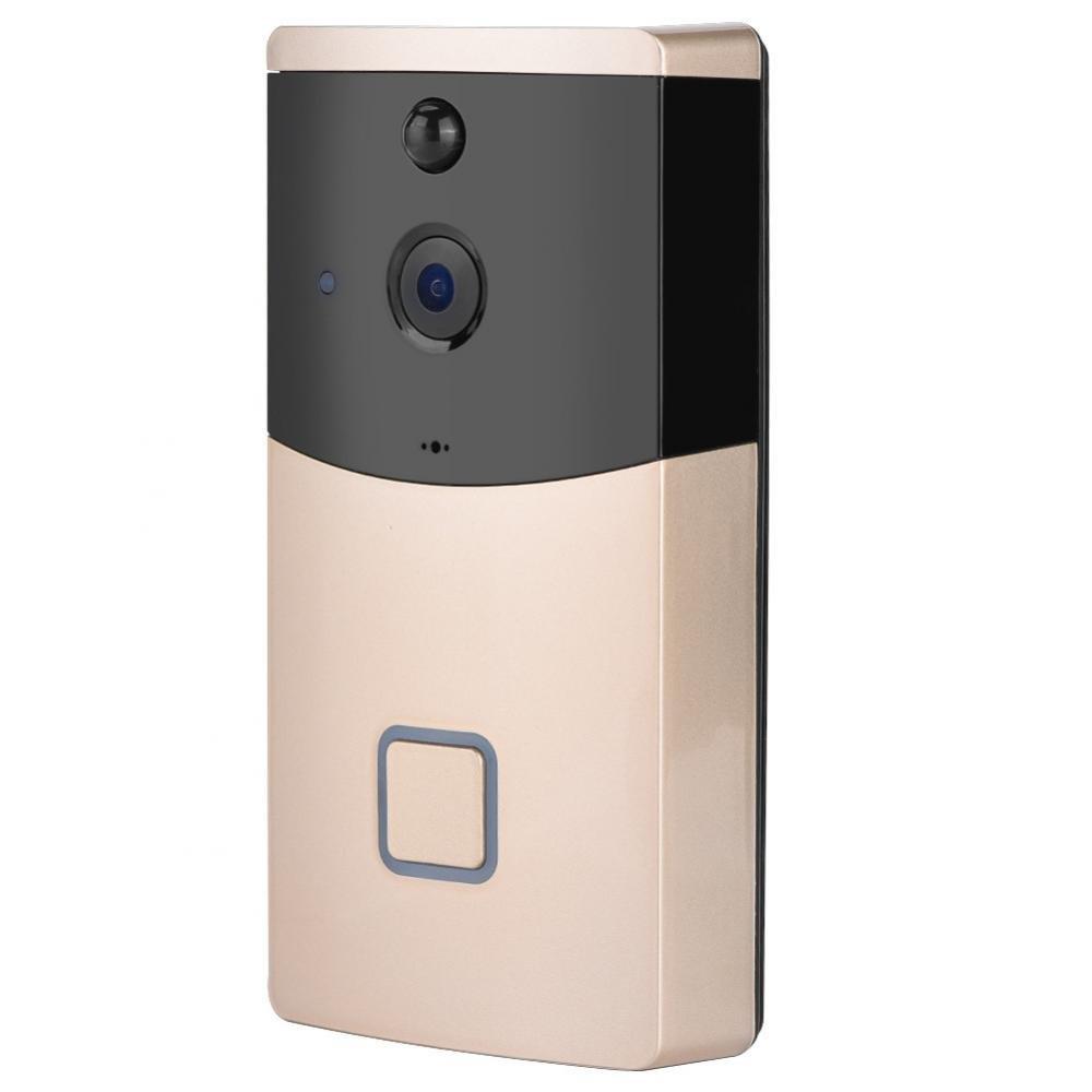 ASHATA Video Doorbell, Video Türklingel WLAN Video Türsprechanlage Türklingel PIR Bewegungsmelder,Wireless WiFi Digital Doorbell Gegensprechfunktion mit Nachtsicht Fernbedienung für Android IOS Gold