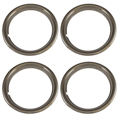 Set of 4 Chrome Plated ABS Plastic 15'' Universal 1.75 inch Beauty Trim Rings 15P by IWC