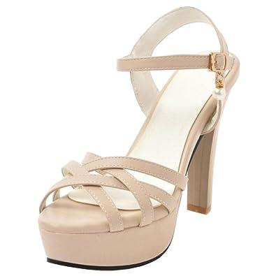 f05d6526021151 RAZAMAZA Damen Buro High Heel Sandalen Sommer Schuhe Slingback Sandalen  Beige Size 34 Asian