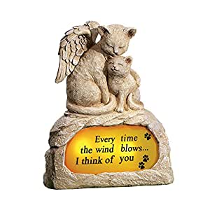 Angel Pet Memorial Stone Grave Marker with Solar Light