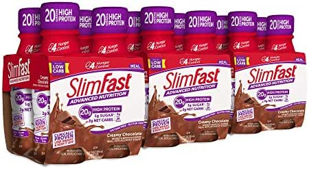 SlimFast Advanced Nutrition Creamy Chocolate Shake – Ready to Drink Meal Replacement – 20g of Protein – 11 fl. oz. Bottle – 12 Count