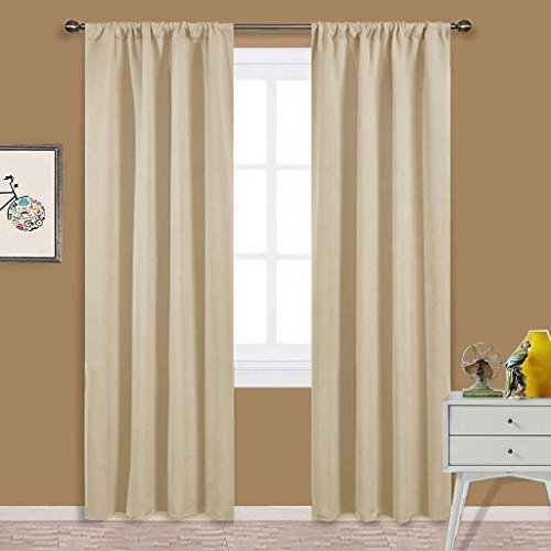 NICETOWN Kitchen Room Darkening Curtains - Panel Home Fashion Thermal Insulated Solid Rod Pocket Curtains / Drapes for Kitchen(1 Pair,42 Inch Wide by 84 Inch Long,Beige)