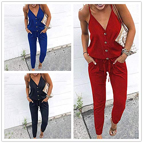 V Neck Spaghetti Strap Drawstring Waisted Long Pants Jumpsuit Rompers for Women