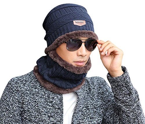 Lovful Men's Fashion Winter Thick Warm Knitted Hat and Circle Scarf 2 Pieces, Navy
