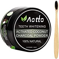 Aotto Activated Charcoal Natural Teeth Whitener with Bamboo Brush