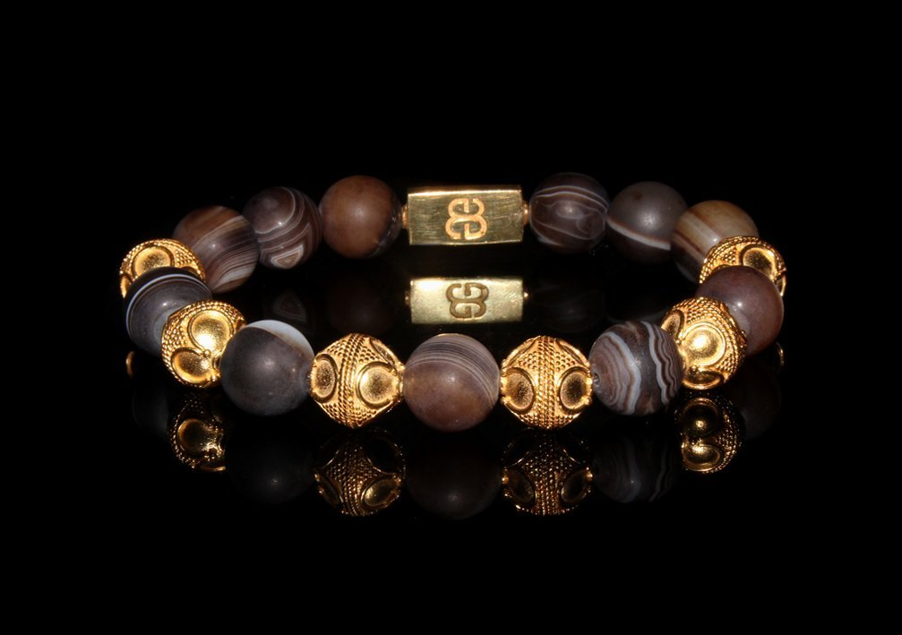 Men's Matte Brown Striped Agate Bracelet, Gold and Brown Agate Beads Bracelet, Men's Luxury Bracelet, Men's Gold Bracelet