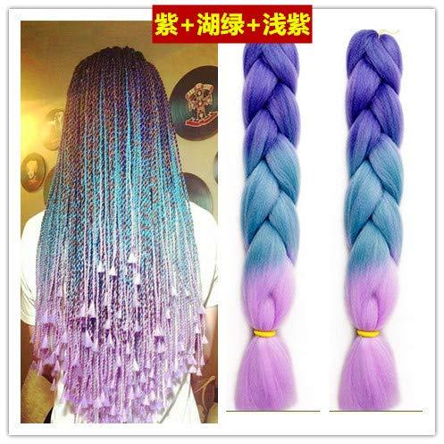 OLIJU Multicolored Wig Hair Rope Braids Hip hop Trend Men Women Decorated Accessories Woven Tibetan Students Color Dreadlocks (Purple Sky Blue + Purple ()