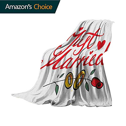Cheap Wedding Weighted Blanket for Kids Just Married Hand Writing in Red and Rose with Wedding Rings Celebration for Bed & Couch Sofa Easy Care 30