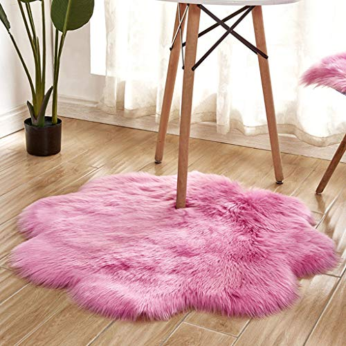vmree Super Soft Wool-Like Faux Fur Area Rug Fluffy Antiskid Flower Shaped Warm Carpet Mat Baby Nursery Playmat Elegant Living Room Bedroom Hallway Home Office Decor (Hot Pink, 3×3 Ft.)
