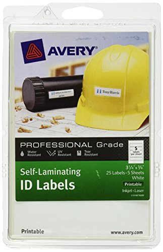 Avery 3.25 x 0.75 Inches Printable Self-Laminating ID Labels, Pack of 25, White (00760)