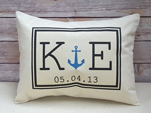 Personalized Anchor Pillow with Initial Monogram and Date 2nd Anniversary Personalized Pillow with Nautical Anchor and Personalized Date