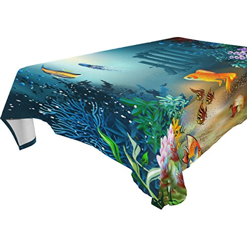 Marine Blue Pool Tablecloth (ZOEO 100% Fabric Polyester Tablecloth,Marine Moti Ocean Dolphin Tropical Fish Coral,Everyday Table Cover For Restaurant,Kitchen,Party & Picnic,54x72)
