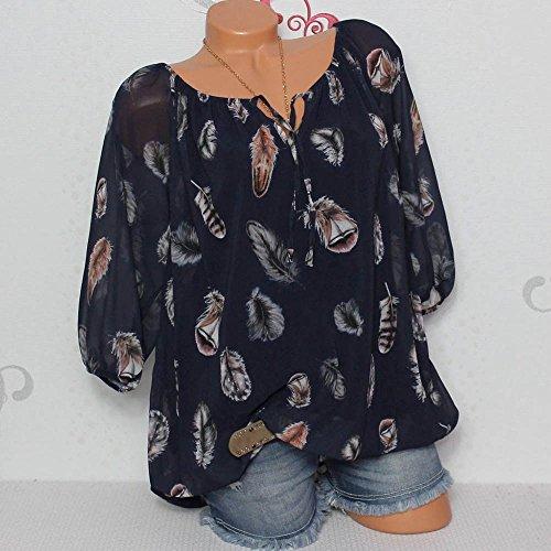 Tops Chemisier Shirt LULIKA Shirt V T Neck Grande Demi Taille Imprimer Femme Marine Plume Pull Manches wqfgOH