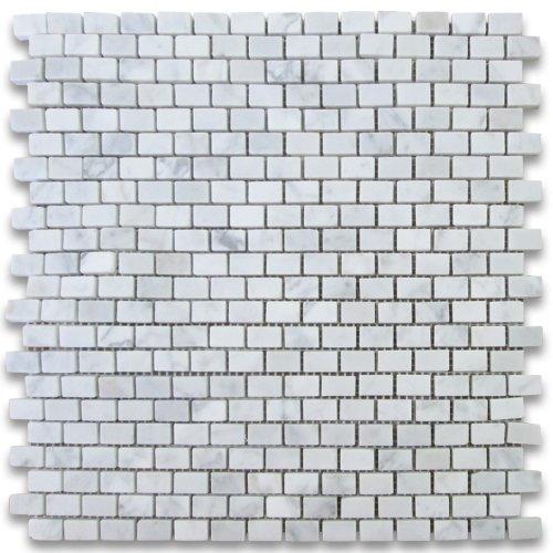 Carrara White Italian Carrera Marble Mini Brick Mosaic Tile 5/8 x 3/4 Honed