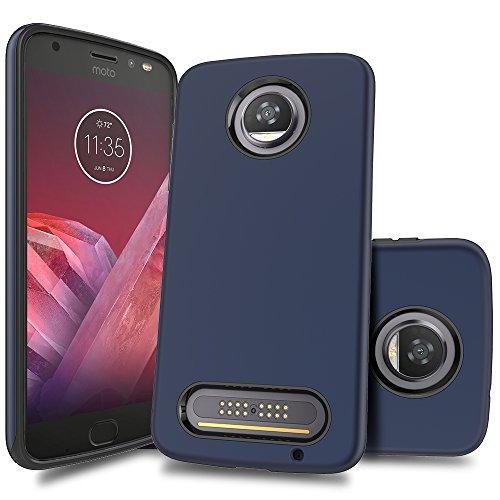 (Moto Z2 Force Case, Teayoha Slim Hybrid Dual Layer Shock Absorption Defender Protective Armor Case Cover for Motorola Moto Z2 Force Edition - Royal Blue)