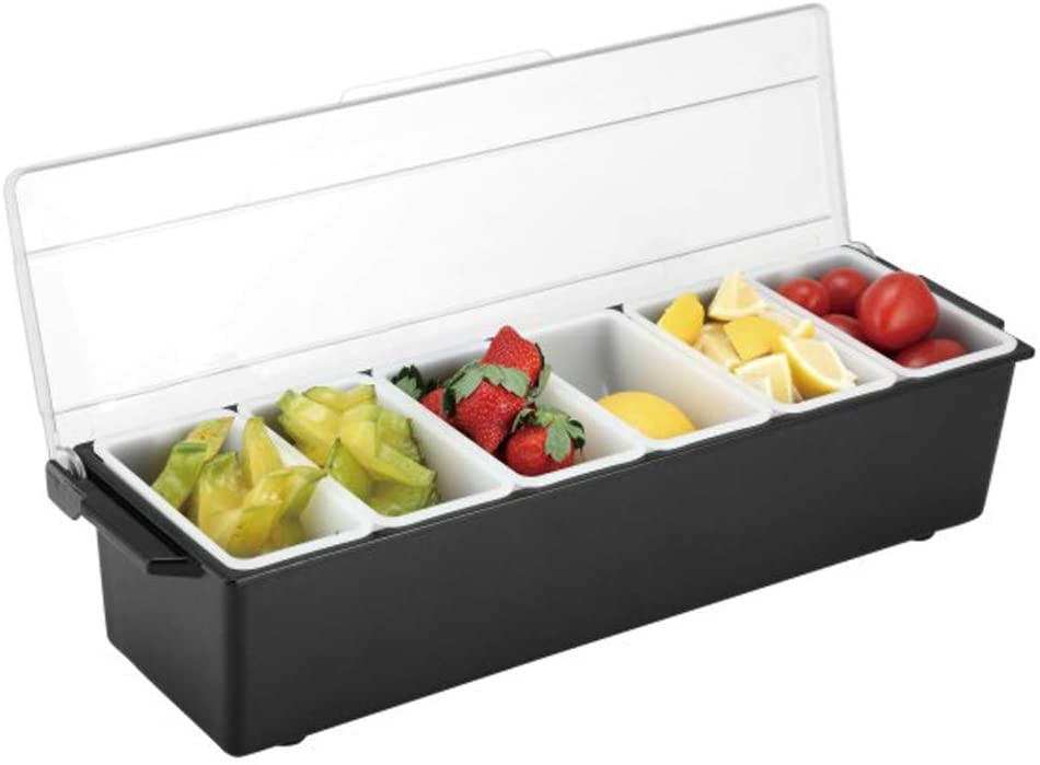 6 Compartment Ice Cooled Condiment Serving Tray Container with Lid and 6 Removable Compartments Condiment Server Caddy for Home Work or Restaurant (6 Compartment)
