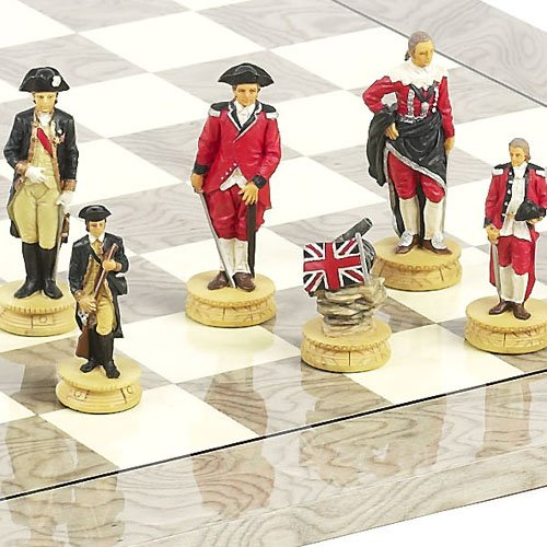 (Hand Painted American Revolutionary War of Independence Chessmen)