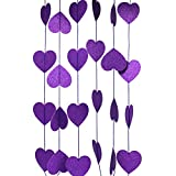 CVHOMEDECO.. Glittered Paper Heart Shape String Garland Hanging Décor for Wedding Birthday Party Festival Home Background Decorative, 8.2 feet, Pack of 2 PCS (Purple)