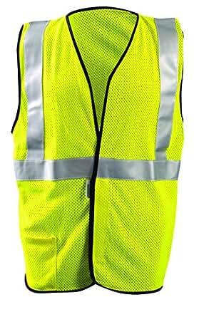Occunomix LUX-SSGC/FR-YXL Class 2 Premium Flame Resistant Single Stripe Mesh Vest, HRC 1 Protection, X-Large, Yellow
