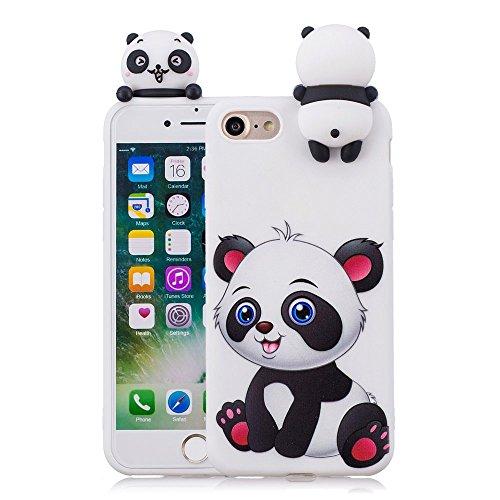 3D Cartoon Panda Case for iPhone 5 5S SE Case LAPOPNUT Soft Back Candy Colour Lovely Girly Bear Design Slim Flexible Protective Case Cover Rubber Bumper for Girls, Cartoon Panda (Iphone 5 Cases Squishy)