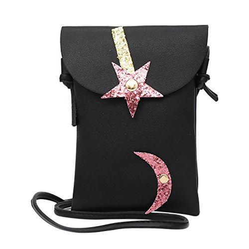 Aibearty Women Girls Glitter Star Moon Shoulder Purse Casual Mini Crossbody (Glitter Black Stars Snap)