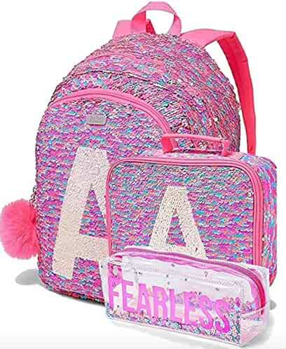 1fac7218043 Justice Set of 3 School Backpack Lunch Tote & Pencil Pouch Flip Sequin Fearless  Shaky Letter