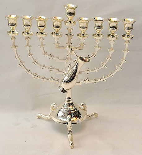 Menorah ( Hanukiah ) Silver Plated From Holy Land Jerusalem H/38 x W/35 CM by Jerusalem Menorah