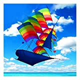 Unbranded 3D Huge Rainbow Sailboat Flying Kite Outdoor Sports Children Kids Game Activity- Sold by Online Discounts Gifts!