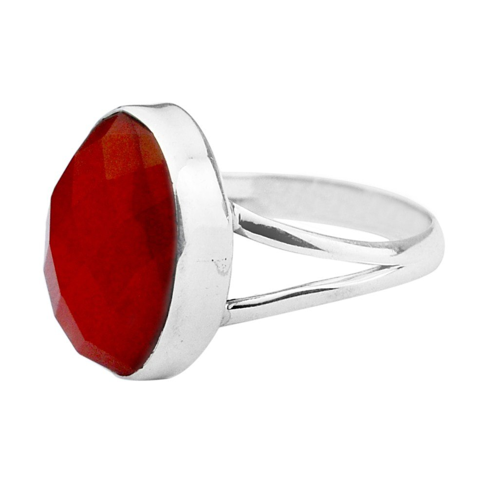 925 Sterling Silver natural Red onyx gemstone Ring Size 7 US 3.73 g cci