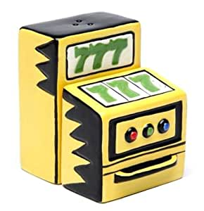 Yellow Slot Machine Showing Lucky Sevens Salt and Pepper Shakers by Cg