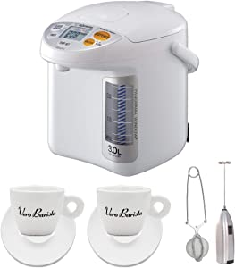 Zojirushi CD-LFC30 Panorama Window Micom Water Boiler and Warmer (101 oz/3.0 L, White) Bundle with Frother, Tea Infuser and Two Espresso Cups Bundle (4 Items)