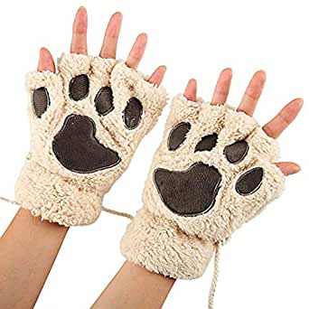 gloves us warm fingerless gloves cute plush bear claw cat. Black Bedroom Furniture Sets. Home Design Ideas