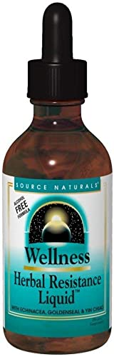Source Naturals Wellness Herbal Resistance Liquid Immune Defense Supplement Immunity Booster with Echinacea, Elderberry Yin Chiao - 8 OZ