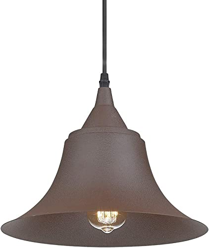 Emliviar Indoor Outdoor Metal Industrial Pendant Light, 1 Light Rustic Vintage Farmhouse Barn Light Hanging Light, 50006-MP