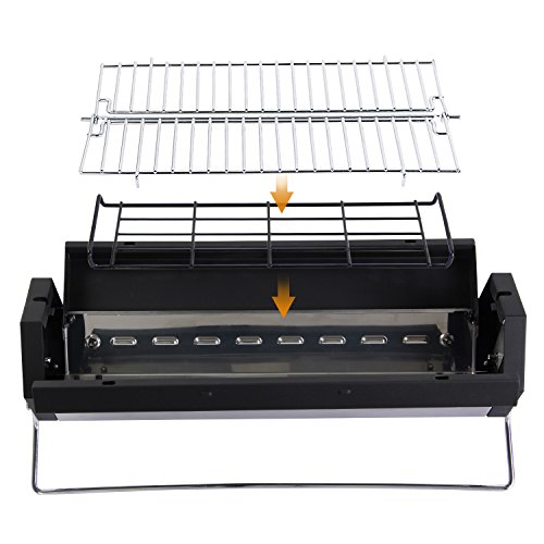 wolfwise portable foldable charcoal bbq grill stainless steel import it all. Black Bedroom Furniture Sets. Home Design Ideas