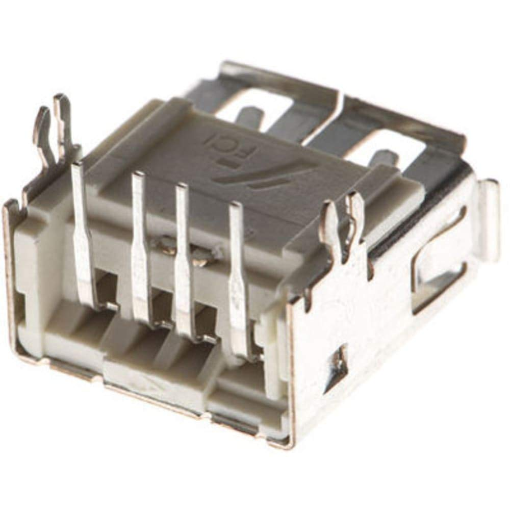 Conn; Data; USB; TypeA; Socket; 4Cnts; RightAngle; ThruHole; White; 1.57mmPCB, Pack of 100