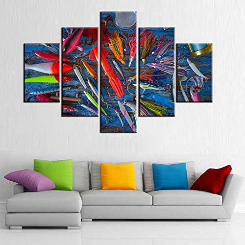 Fish Pictures for Living Room Fishing Equipment Paintings Multi Panel Prints Wall Art on Canvas Contemporary Artwork Bedroom House Decor Giclee Framed Gallery-Wrapped Ready to Hang(60''W x 40''H)