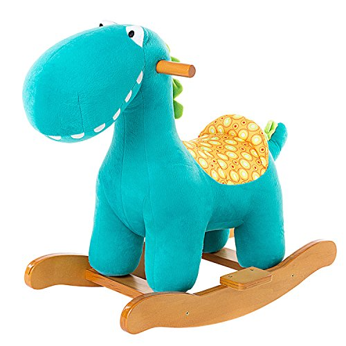labebe Child Rocking Horse Toy, Stuffed Animal Rocker Toy, Blue Dinosaur Rocker for Kid 1-3 Years, Wooden Rocking Horse Plush/Outdoor Rocking Horse/Rocker/Animal Ride/Child Rocking Toy/Dragon Rocker Antique Wooden High Chair