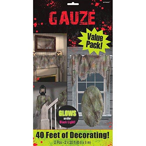 AMSCAN Gray Gauze Draping, Halloween Decor, 2 Pieces, 20' L x 2' W ()