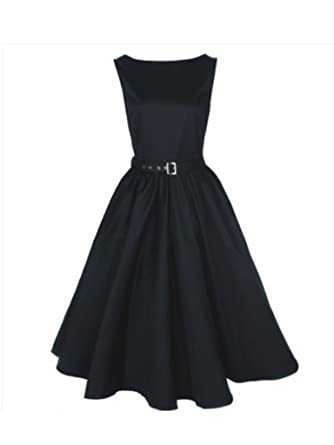 d8005a2d430 Amazon.com  Modern Grease Audrey Hepburn Black Satin 50 s Dress  Clothing