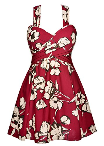 Vintage swimsuit one piece hips support floral beachwear bathing dress speed dry swim skirts pattern bathing suit for the female,Maroon Floral,2XL/14-16